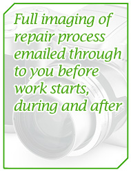 Full imaging of repair process emailed through to you before work starts, during and after